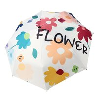 Umbrellas Umbrella Sunscreen UV Proof Folding Portable Creative Flower Student Sunshade Three- High Density Girls Fashion