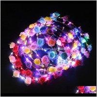 Blinkendes Zopf SSS Bunte Weihnachtsfeier Glühende Halloween Krone Blume Stirnband Frauen Mädchen LED Leuchten Haar Kranz Haarband Garl 25sg7