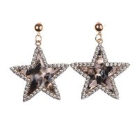 Fashion Acrylic Resin Star Shape Drop Earring For Women Elegant Crystal Dangle Statement Wedding Earrings Gifts & Chandelier