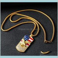 Collares colgantes moda hiphop oro americano bandera águila colgante cadena militar soldado para hombre collar de cuello de oro accesorios