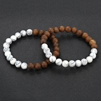 Fashion Bracelet 8mm New Natural Wood Bead Men's Black and White Women's Yoga