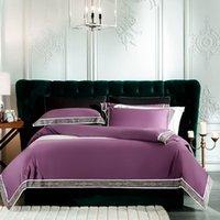 Set di biancheria da letto viola giallo rosa grigio bianco 100% cotone egiziano cotone regina king size copripiumino biancheria da letto lenzuola in lamiera foglio federe set