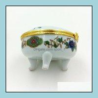 박스 디스플레이 장식 작은 자연 도자기 보석 선물 상자 중국 스타일 라운드 도자기 보석 메이크업 포장 케이스 파티 파이어