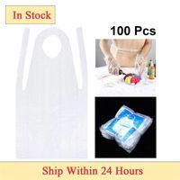 100 unids Unisex Desechable Delantal Abrocha a prueba de aceite Cocina Delantal Antiifuling PE Plastic para mujeres Hombres Pintura Cocina Delantales 201007