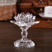 Kristal Adil Mumluklar Cam Tealight Düğün Centerpieces Candelabra Fas Dekor Deniz Feneri Lotus Çiçek 5Z21