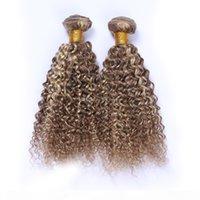 8 613 mezcla color de color tejido de pelo profundo onda rizada extensiones de cabello claro marrón y rubio cabello humano tejidos 3pcs lot Piano Color Bundles