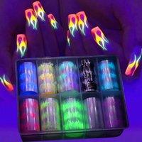 10 Roll / Box Luminoso Fire Fire Flame Set Nail Art Transfer Sticker Decalcomania Giallo Blu Slider Starry Paper Decorazione