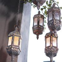 촛불 홀더 유리 크리스탈 모로코 촛대 금속 중공 홀더 홈 커피 숍 장식 철 매달려 랜턴