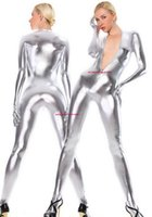 Sexy Women Men Body Suit Costumes No Head Unisex Silver Shiny Metallic Catsuit Costume With Front Zipper Halloween Party Fancy Dress Cosplay Bodysuit P525