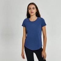 NO-BAĞDAŞ YOGATOPS T-shirt LU-58 Katı Renkler Kadın Moda Açık Yoga Tankları Spor Koşu Spor Giysileri