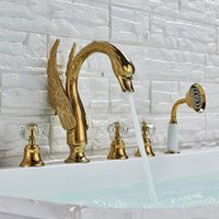 Crystal Knob Swan Golden Bathtub Faucet Deck Mounted 5 Holes Widespread Tub Mixer Tap With Handshower Torneira Chuveiro Bathroom Shower Sets