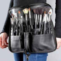 Artista profissional maquiagem pincel cintura cosmético sacos grande capacidade PU Pack portátil multi bolsos com cinta de cinto