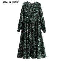 넥 그린 꽃 프린트 긴 소매 드레스 휴일 여성 화합 된 주름 루 치는 허리 느슨한 미디 드레스 우아한 캐주얼