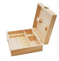 Scatole di scorta in legno Strumento di fumo Set vassoio di sigaretta Natural Handmade Wood Tabacco e scatola di immagazzinaggio a base di erbe per fumare tubo KKB7096