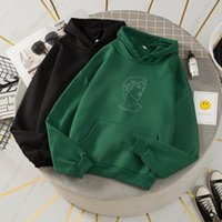 Women's Hoodies & Sweatshirts David Printed Pocket Sweatshirt Streetwear Female Korean Hoodie Oversize Pullover Sport Jumper Women Thicken C