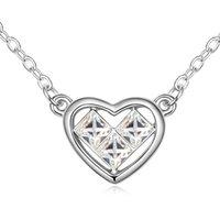 Collares colgantes 11.11 Marca de venta Trendy Simple Heart Crystal Collar Colgantes Austria Declaración Collar Jewlery para mujeres