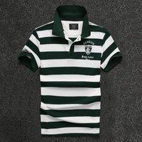 2017 neue Männer T-shirt Mode Streifen Revers Stickerei Brief Slim Shirt Herren Top Hot Sell Sell Kurzärmeled Hemd Designer Pure T Shir