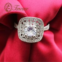 Wedding Rings Female Luxury Crystal Square Zircon Ring Engagement Band Promise For Women Jewelry Gifts