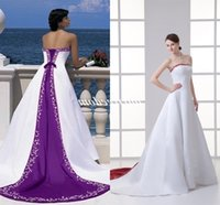 2019 Robe de mariage Purple and White Wedding Dresses Red Satin Lace Up Back Embroidery Appliques Bridal Gown Custom Made