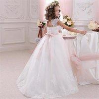 Girl's Dresses White Flower Girls Sleeveless Lace Applique Tulle Fluffy Floor Length First Holy Communion Princess