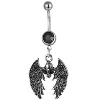 D0882 (1 Colore) Il cranio nero anello pancia piercing gioielli 14ga 10mm lunghezza 5/8 mm palla