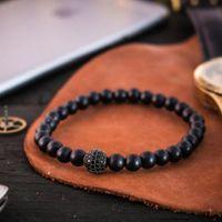 10pcs Bracelet mâle Rock Volcanique Alliage de pierre naturelle Silver Mode 8mm Micro Pave Gold-Color Disco Balle Perlé Hommes Bijoux Perles, Strands