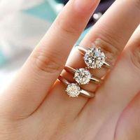 Роскошные дизайнеры Мода Six-Claw Diamond 1 или 2 Carats Platinum-Tplated Стерлинговое серебро Свадебное или обручальное кольцо