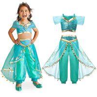 Girls Aladdin's Lampada Gelsomino Dress Up Costumi Bambini Halloween Belly Dance Abiti Arabian Indian Princess Costume Cosplay 210331