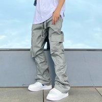 Кнопка Multi-Pockets Комбинезон для мужчин и женщин Streetwear Cargo брюки свободные Harajuku повседневные брюки