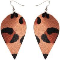 Fashion Leopard Printed Genuine leather Leaf Drop Dangle Earring Spot Dot Striped Leathers Earrings for Woman Jewelry