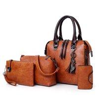 Valenkuci Leder Schulter Messenger Bag Tote Bolsa 4 teile / satz Frauen Composite Hohe Qualität Damen Handtasche Weibliche Set Tasche 210907