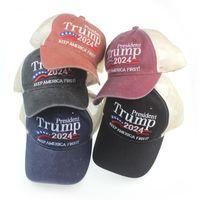 Donald Trump 2024 Gorra de béisbol remiendo lavado al aire libre Mantener América First Hat Deportes al aire libre Bordado Trump Mesh Sombreros 2160 V2