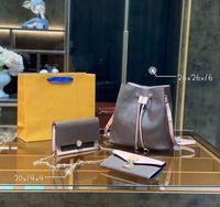 3pc luxurys дизайнеры женщины мода сумки мода сумки крест body body сумки комбинация знаменитый классический цветок коричневая емкость портативный день рюкзак 20