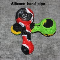 Silicone Spoon Hand Pipes Printing Silicon Mini Water Pipe+Glass Bowl+Stainless Steel Dabble For Dry Herb Customized Printings Available