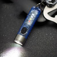 Flashlights Torches Mini Keychain LED Fluorescent Waterproof Side Lamp USB Rechargeable Signal Light For Outdoor Running Camping