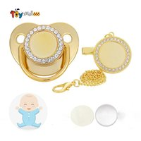 Sublimation Baby Pacifier with Clip Favor Bling Crystals Blank Infant Pacifiers Chain Birthday Gift Newborn Care Tools 14 Color Wholesale