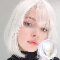 Синтетический парик розовый красный черный синий фиолетовый блондин белый парик женский короткий боб Хэллоуин рождественская вечеринка косплей парики для женщин