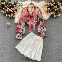 Women's Tracksuits 2021 Summer Two Piece Set Women Suits With Shorts Sets Chic Chiffer Shirt Tops And High-Waisted 2 Womens Outfits