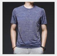 여름 짧은 소매 둥근 목 티셔츠 남성 스포츠 및 레저 동정심 편안한 고탄성 통기성 탑 중년 남성 얇은 섹션 1
