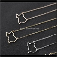 Pendant & Pendants Jewelry Drop Delivery 2021 10Pcs States Outline Texas American Map Charm Usa Tx State Necklace Simple Hollow Geography Nec