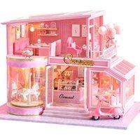 Cutebee Diy Dollhouse Casas de muñecas de madera Casas de muñecas miniatura Kit de muebles Casa Música LED juguetes para niños Regalo de cumpleaños A73 Y200704
