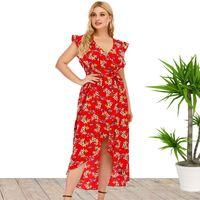 Plus Size Red Dress Slit Ruffle Sleeve Irregular Elegant Dresses 2021 Women's V-Neck Print Ankle Skirt High Waist Belt Party