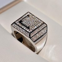 ホワイトゴールドリングメンヒップホップ/ロックオリジナル天然モアッサナイト宝石の贅沢な目に見えない設定14 Kイエローリングクラスター