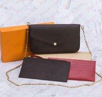 Diseñador de 3 piezas Bolso de mujer Crossbody Messenger Bolsos Moda Cadena de moda Bolsillo y billetera Single Hombro Estilo de alta calidad Carteras Monedero