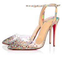 럭셔리 여름 여성의 spikaqueen 드레스 신발 섹시한 뾰족한 발가락 펌프 레이디 붉은 하이 하이힐 PVC 스트라미 파티 결혼식 신부 상자, EU35-43