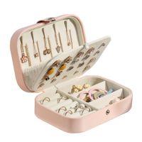 Caja de joyería de cuero PU Pulsera de viaje Pendiente Funda de almacenamiento simple Portátil