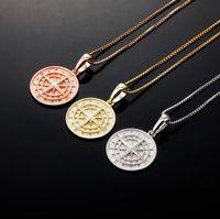925 Bússola de Prata Pingente Colares para Homens Mulheres Designer de Luxo Mens Bling Diamante Cadeia de Ouro Colar de Jóias Amor Presente
