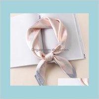 Seda 7070cm Circel Circel Moda Pequena Quadrados Head Shawl Bag Spring Decorative Bla2c GFPGC