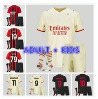 Kit d'enfants adulte AC 2021 2022 Milan Ibrahimovic Accueil Jerseys de football 21 22 Pateque Paquetta Theo Rebic Football Shirts Uniformes des garçons jeunesse