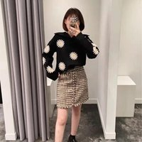 Women's Sweaters Women Sweater 2021 Autumn And Winter Daisy Embroidery Navy Style Big Lapel Knit